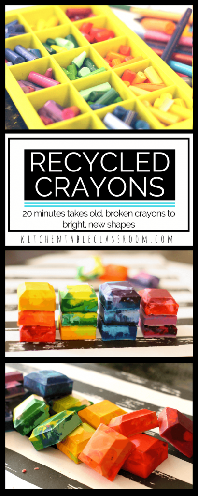 You know that lovely smell that happens when you crack open a new box of crayons? And then not too may days after that those crayons are peeled, and broken, and have lost that new crayon sparkle? Enter this super simple DIY crayon recycling idea.