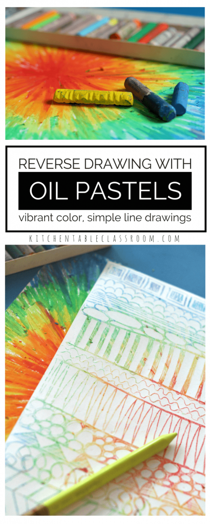 """Starting with a page of brilliant oil pastel color allows for some color mixing fun. Reverse oil pastel drawing with a focus on line exploration makes a pencil drawing go from simple to """"Pop!"""""""