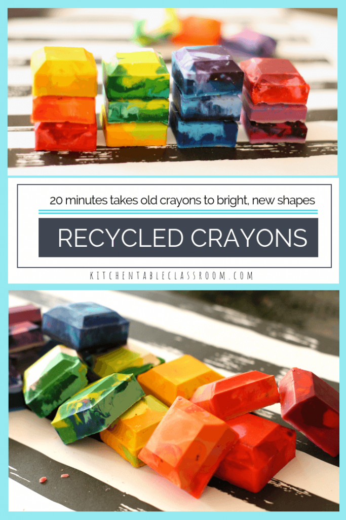 Learn how to make crayons from...old crayons. Learn how to melt crayons in the oven to make sparkly new rainbow crayons in this crayon recycling activity!