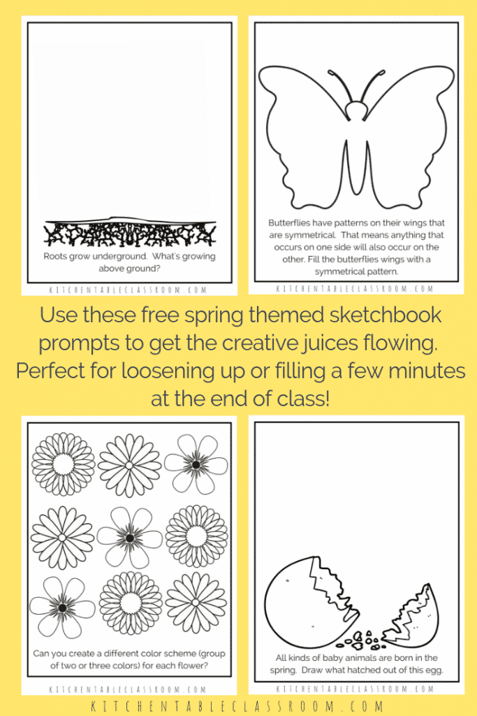 These spring sketchbook prompts and drawing prompts are the perfect way to add a little creativity to your day and celebrate spring!