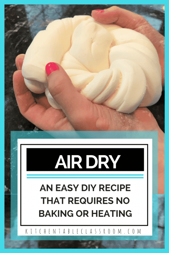 Use this easy DIY recipe to make your own air dry clay for kid's crafts and art lessons. Household ingredients combine to make a pure white silky smooth clay that requires no heating or baking.