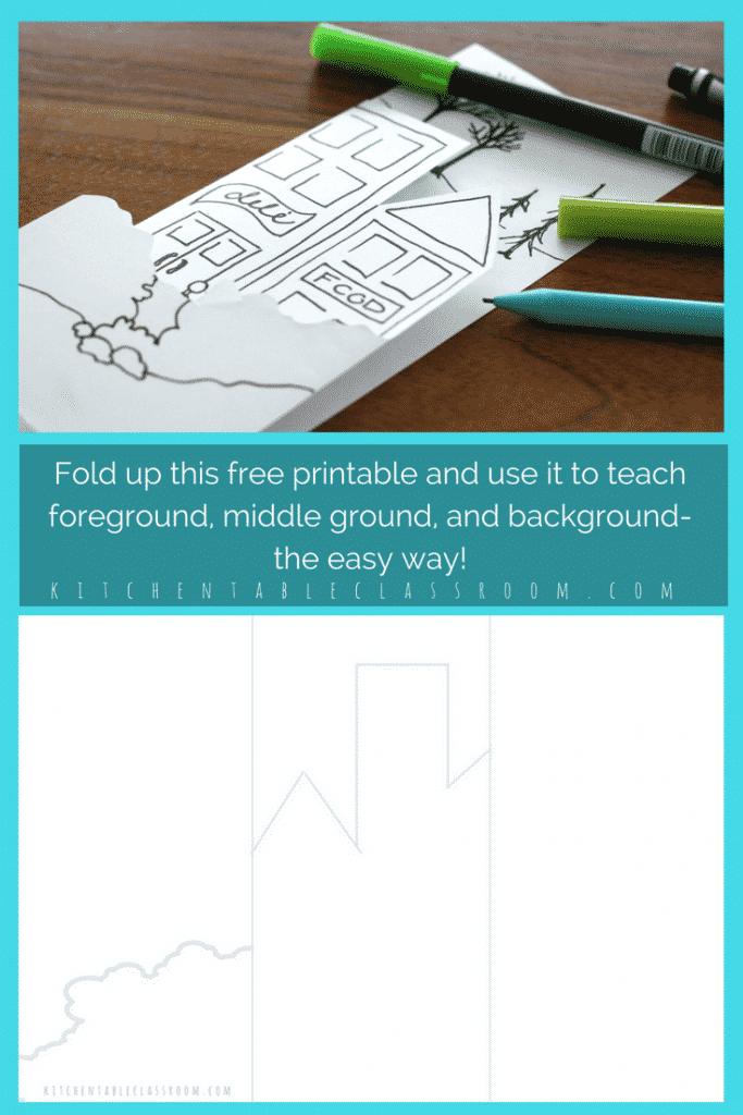 Teach the concept of creating space in an artwork through the use of the foreground middleground background. Use this free fold up printable to help!