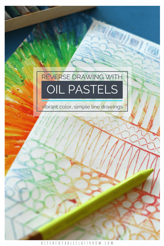 This oil pastel drawing lesson is an easy way to explore the element of line.  The reverse drawing process is a little magic and so fun!
