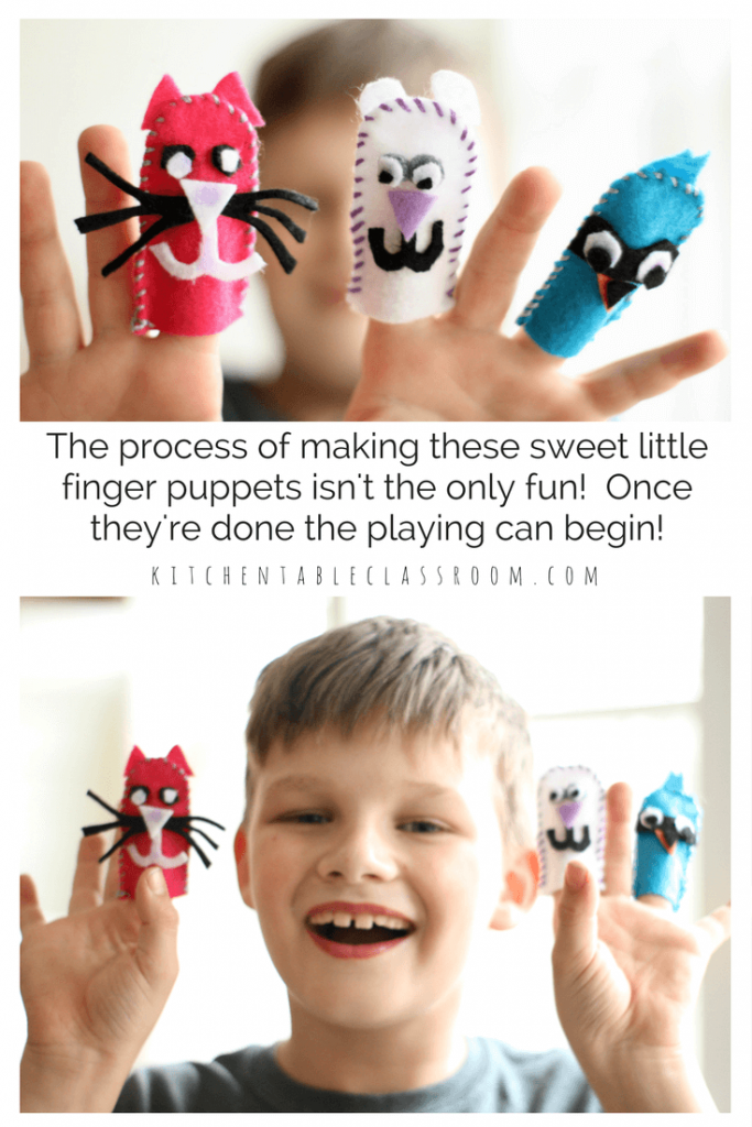 This sweet and simple DIY finger puppet project is the perfect first introduction to sewing. A simple whip stitch is introduced while the little details are simply glued on to prevent frustration. The fun of these little finger puppets will last long after the making is done. Playing with them may be the best part!