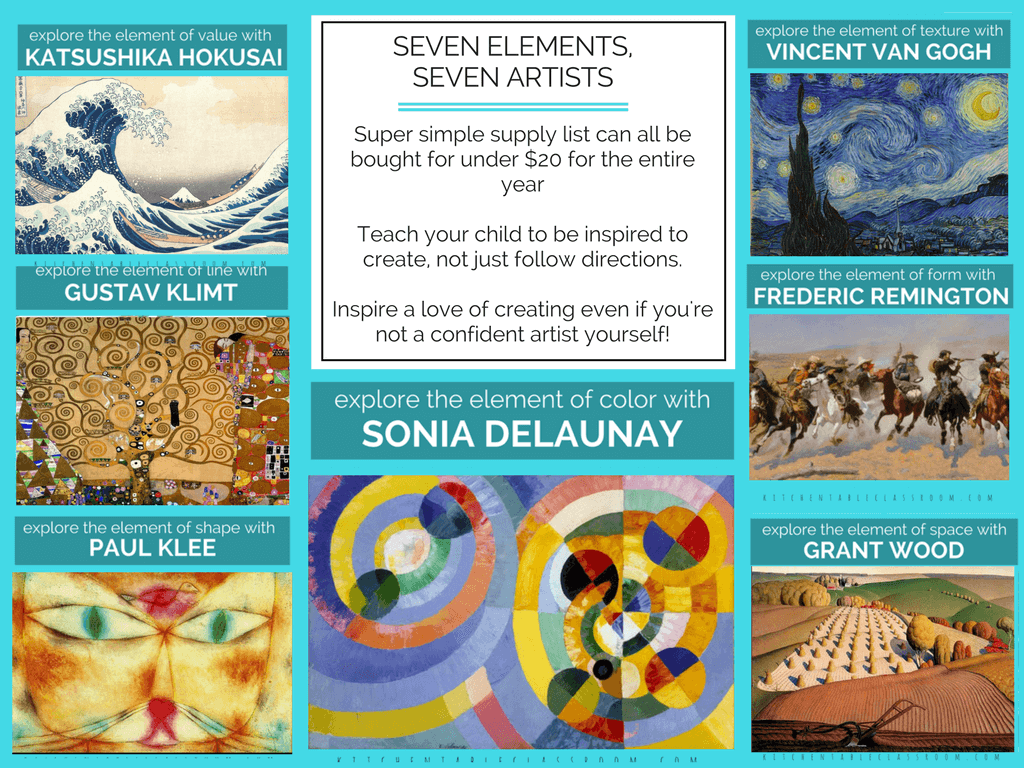 The Artists and the Elements is a year long elementary art curriculum that combines the elements of art, art history, and hands on art projects that make art fun!