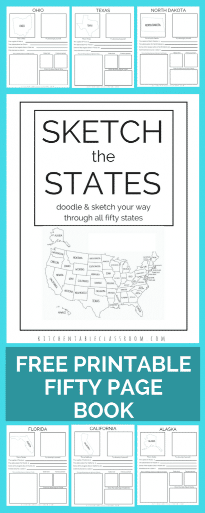 Learn the fifty states by sketching your way through them in this free printable book. One page per state means your kiddo will be learning state capitals, abbreviations, state flags, state birds, landmarks, and more! Sketch the fifty states is a free an easy addition to your geography lessons!
