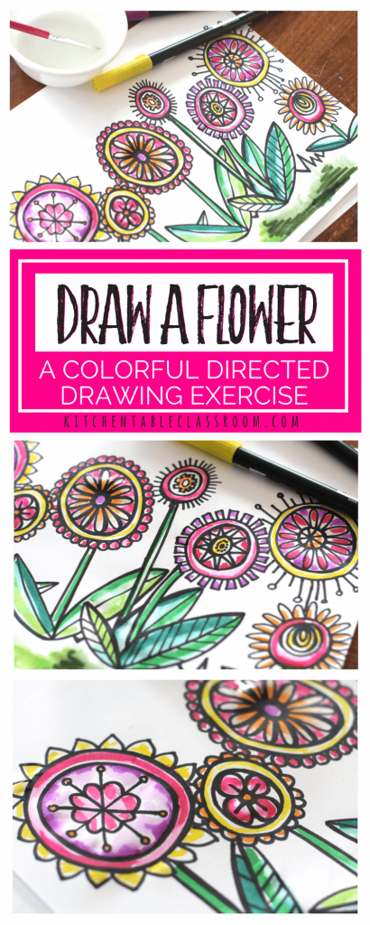 Make drawing a flower easy with this directed drawing exercise. All students will draw a flower with the same directions end up with a unique work of art.