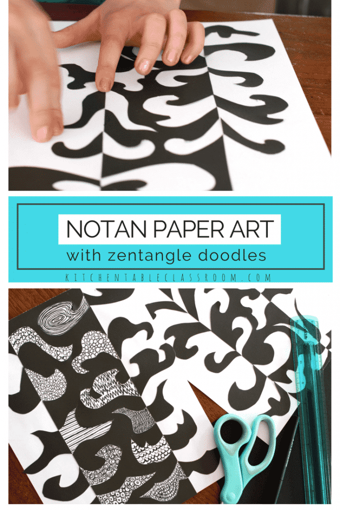 Notan is a Japanese word for the interaction between light and dark.  This project uses cut paper and pen to create some simple but stunning Notan paper art. The stunning shapes balance and black and white belie the simplicity of this project. This is a perfect one day art lesson!