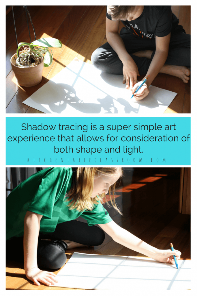 Shadow drawing is an awesome art process for young artists of any age.  Considering shapes and positive & negative space are all part of making shadow art!