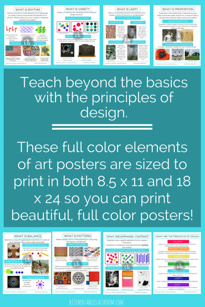 If you've read the Kitchen Table Classroom for any time you know I love using the elements of art as a jumping off point for my art lessons.  Let's go a step beyond the elements to explore the principles of design with the Principles Illustrated, a giant bundle of printable posters, worksheets and a printable book.