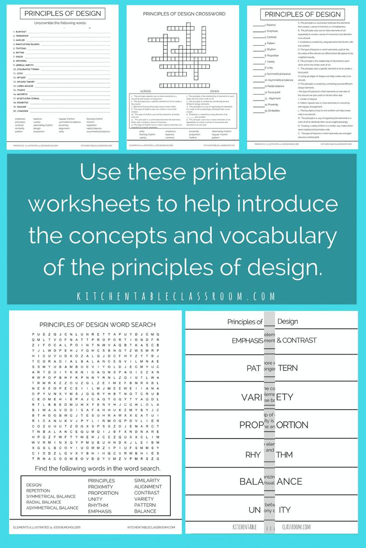 Principles Illustrated Principles of Design Printable Worksheets ...
