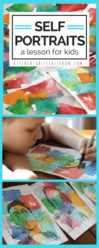 These self portraits for kids are a sweet and colorful introductions to what a self portrait really is.  A few guided drawing tips along with a bright, beautiful tissue paper background makes this art lesson a winner for any age. This is an easy art lesson that has results that shine with personality.