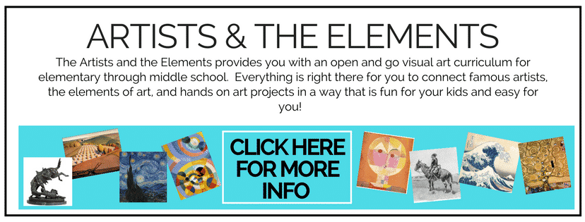 Artists and the Elements is a year long art curriculum designed to give you everything you need to teach art for an entire year. Basic art concepts, art history, process art, and seven detailed main projects will keep your young artists engaged and learning!