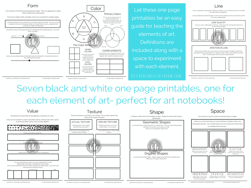 The elements illustrated is a complete digital bundle of printable element of art resources. Full color element of art posters, black and white element printables, printable half page books, a word search, crossword, fold up printables, and a matching style quiz. The elements illustrated makes teaching easy!