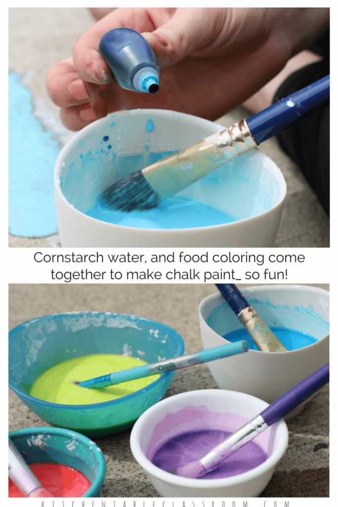 My kids love sidewalk chalk paint but buying it is expensive. But being stingy with supplies takes the fun out making art. This sidewalk chalk paint DIY recipe is so easy and inexpensive to make your kids can even do it themselves. Three ingredients that you've already got in your pantry and this paint is ready to go!