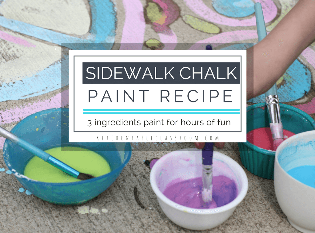 This super simple sidewalk chalk recipe uses only three ingredients. Mix it up and turn you kids loose for a day full of outside, creative fun!