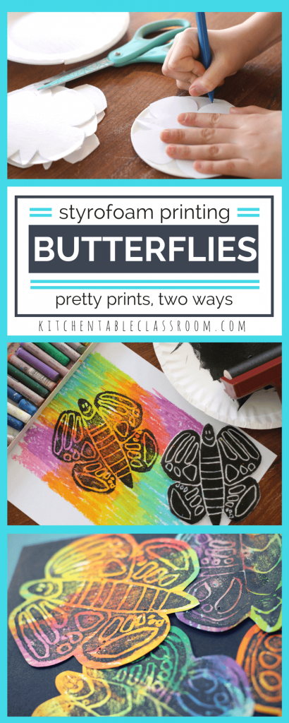 These bright butterfly prints start with a free printable template. Choose printing ink or a marker printmaking method to add color to your butterfly print!