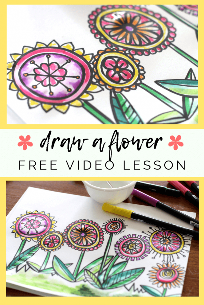 Make drawing a flower easy with this directed drawing exercise. Students will draw a flower with this step by step video drawing lesson!