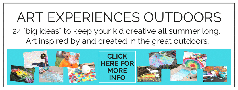 Twenty four big ideas to keep your creative kid making and moving all summer long.  Art Experiences Outdoors  is all about art that is created in and inspired by the great outdoors!