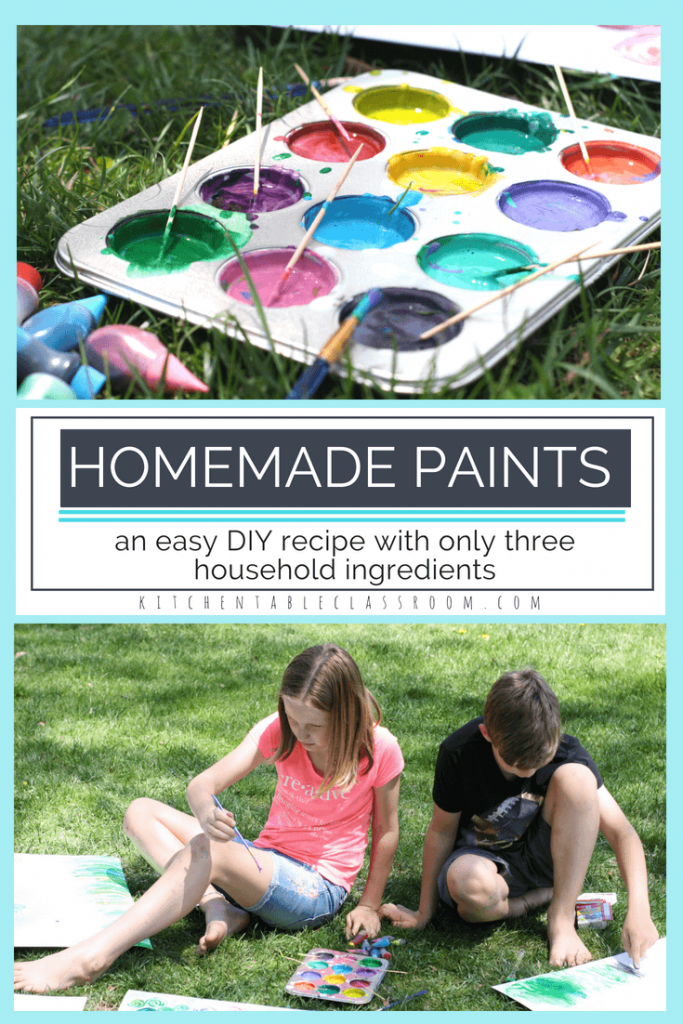 This DIY paint recipe is just as much fun to make as it is to paint with.  It only requires three simple household ingredients so it's not too precious to let kids help.  Let your little artist follow the recipe , make their own colors, and paint their imagination with this easy recipe!