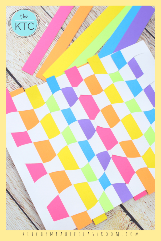how to teach paper weaving to kids using colorful paper