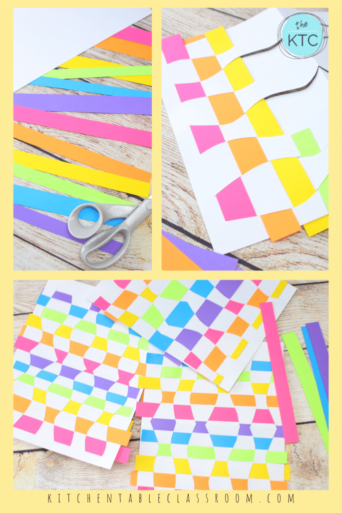 teaching paper weaving to kids using colorful construction paper