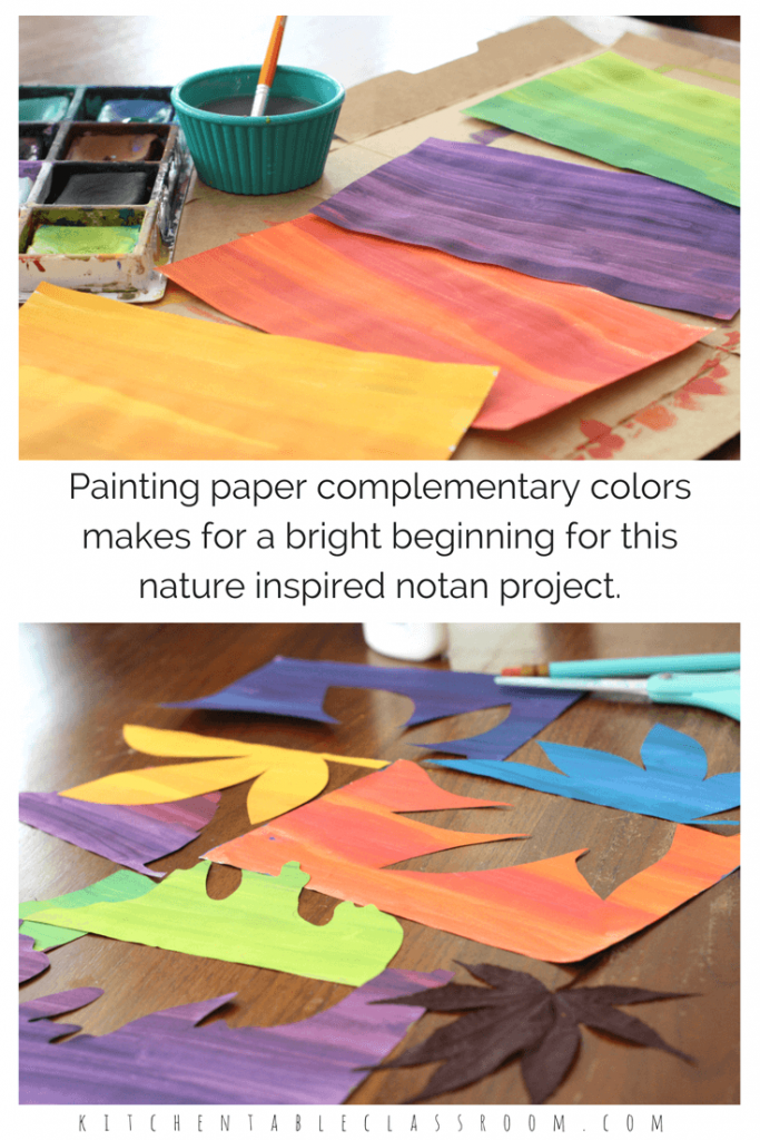 Positive and negative space can be tricky concepts to teach.  The Japanese art of notan, some simple leaf shapes, and a quick intro to complementary colors is a fun way to explore the idea. These painted paper cuts go quickly so you'll want to make more than one!