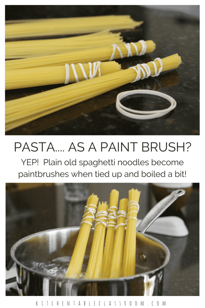 Spaghetti Paintbrushes Process Painting Fun The Kitchen