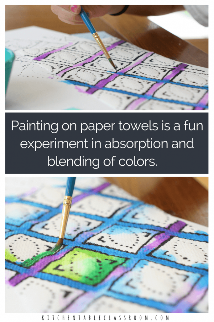 This paper towel painting painting uses everyday, household materials and turns them into something beautiful. Drawing and painting on an absorptive surface brings a new sensory aspect to the processes. So pretty, so fun, and so easy!