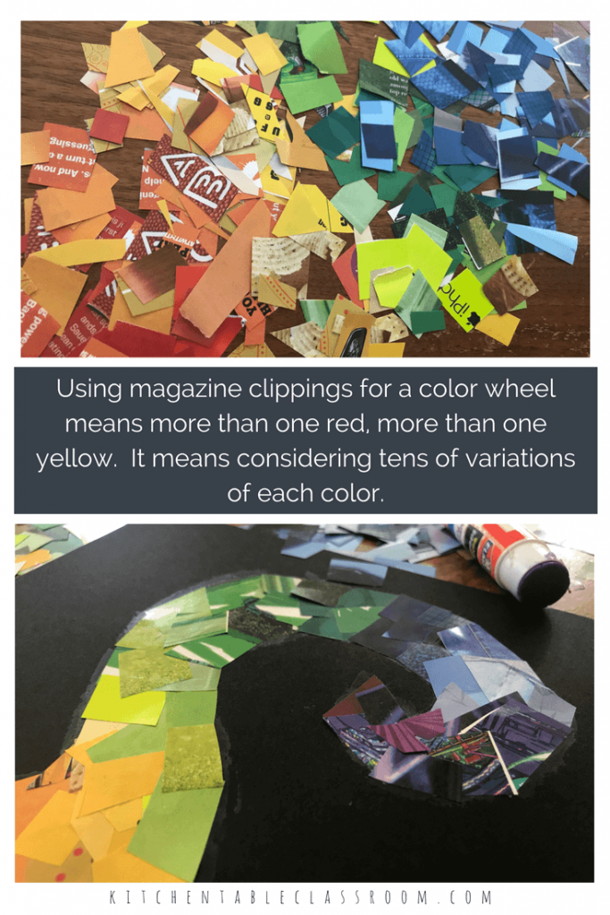 This rainbow color wheel collage lesson uses a material we all have laying around- magazines! Magazine pages provide a huge array of colors to build this creative color wheel. Kids get to see just how many of each color they can find and include for smooth transitions from color to color!