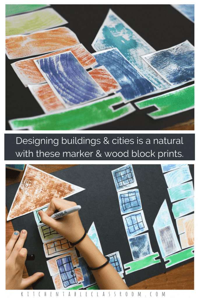 These block wood prints take a traditional printmaking process and put a kid friendly spin on it. Capture the texture of wood using scraps of wood and printing with them using washable magic markers. Use wood prints just like 2-D building blocks to create an architectural collage.