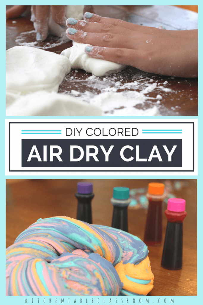 This colored clay comes together quickly and uses materials you already have at home. Air dry clay is perfect for making tiny gifts and trinkets, no kiln or baking required. Let your kids do the measuring and mixing for lots of great sensory opportunities!
