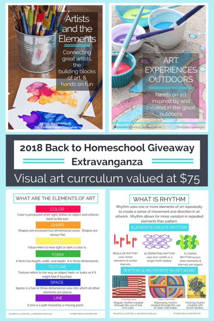 The Kitchen Table Classroom is so excited to be a part of the 2018 Back to Homeschool Giveaway Extravaganza! I'm giving away $75 worth of art curriculum...for free! Enter today for your chance to win!
