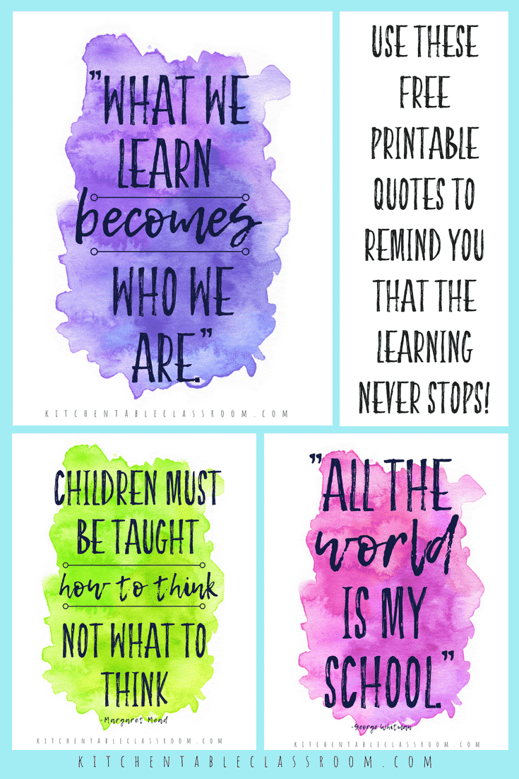 quotes about learning collage 1 - The Kitchen Table Classroom