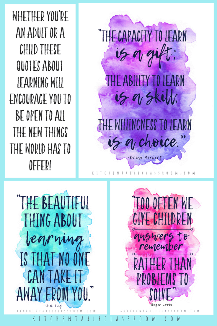 quotes about learning collage 2 - The Kitchen Table Classroom