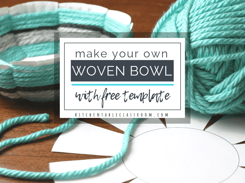 Create this woven bowl using the free printable template, a paper plate, & yarn. This is a great elementary / middle school art lesson to introduce weaving.