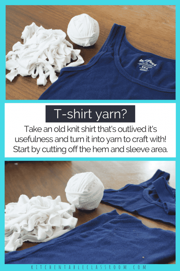 "Did you ever wonder how to make t-shirt yarn? Did you even know that was a ""thing?"" It is & it's a fun way to up-cycle a t-shirt into yarn for crafting."