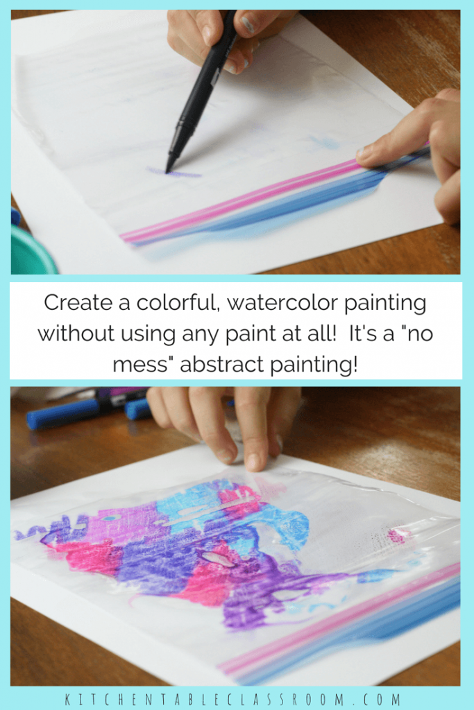 This simple process is the perfect low mess introduction to abstract watercolor painting. Grab your markers and plastic bags for this easy abstract art!