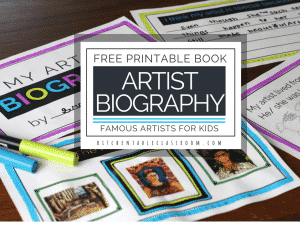 How do you study famous artists for kids? Use this free artist biography printable book to introduce your student to art history!