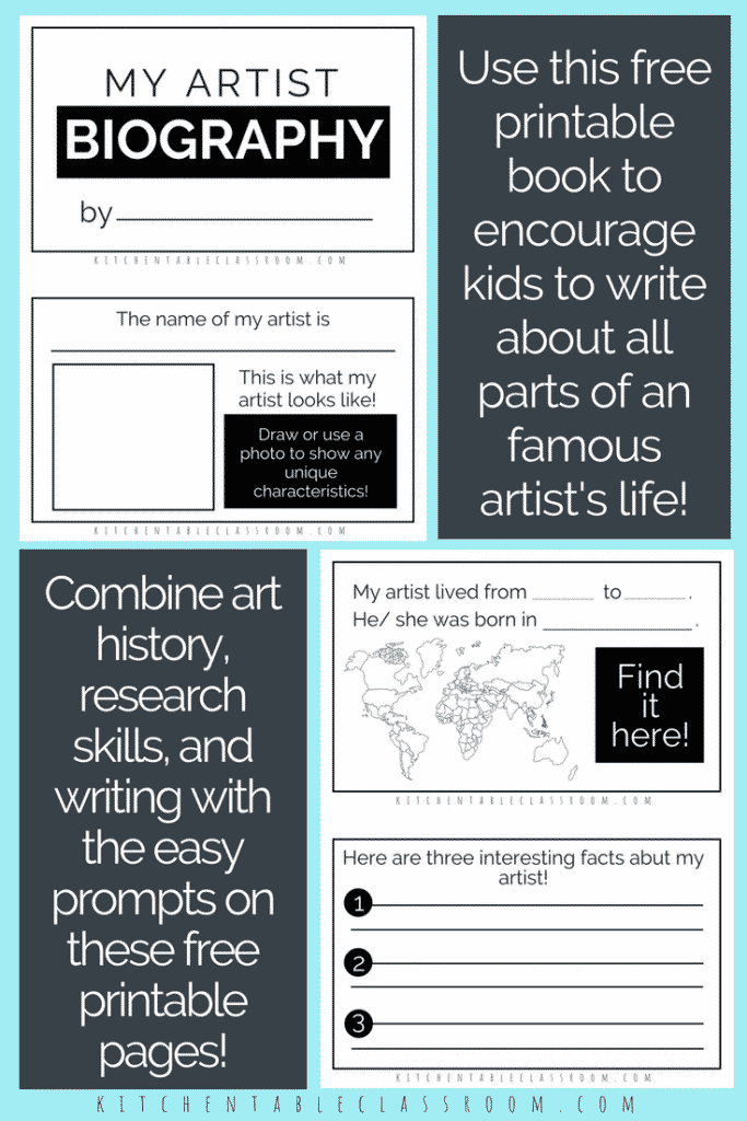 How do you study famous artists for kids? Use this free artist biography printable book as a gentle introduction to art history for kids!