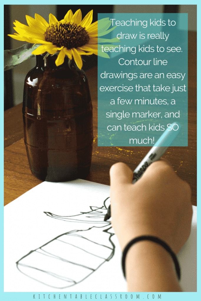 Introduce your kids to the concept of contour drawing with short blind contour line drawing exercises. Contour line drawings teach your kid artists to see!