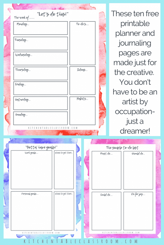This personal planner for creatives includes ten pages of dreamy watercolor free planner printables.The set includes a weekly planner, daily planner & more!