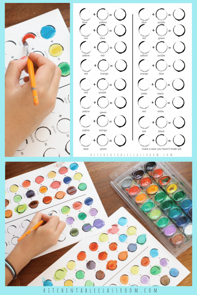 Coloring for Kids color mixing kids : Color Mixing Chart- Six Printable Pages for Learning About Colors ...