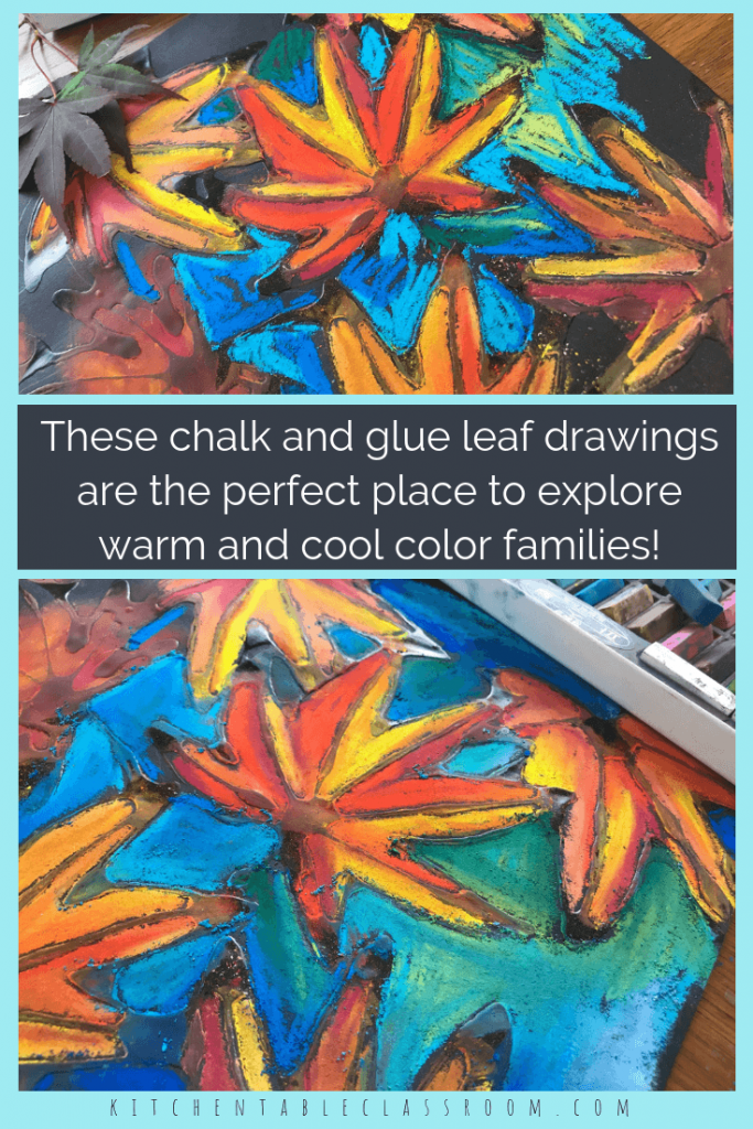 Learn how to draw a leaf then put those skills into action with this pastel chalk and glue leaf drawing done on black paper. Watch those colors pop!