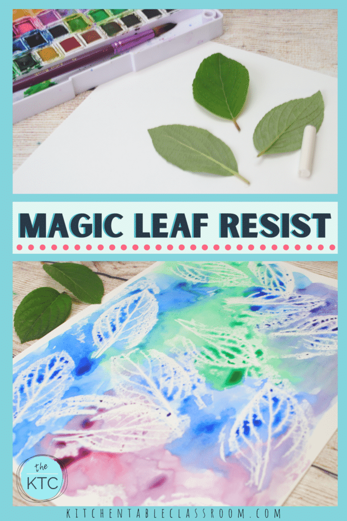 White crayon and watercolor bring a new twist to this old fashioned leaf rubbing craft