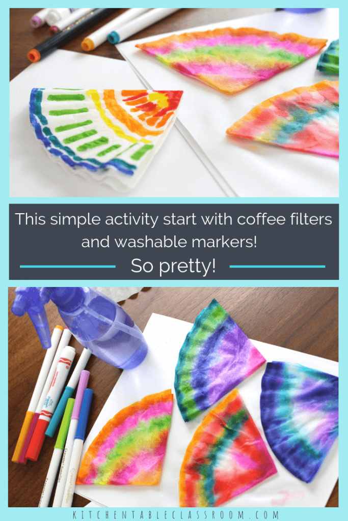 These colorful watercolor coffee filter flowers are easy enough for even the youngest artists. See how to make flowers plus more easy coffee filter crafts!