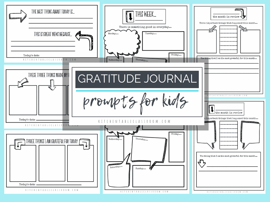 Gratitude Journal Prompts Free Printable Gratitude Journal Templates The Kitchen Table Classroom