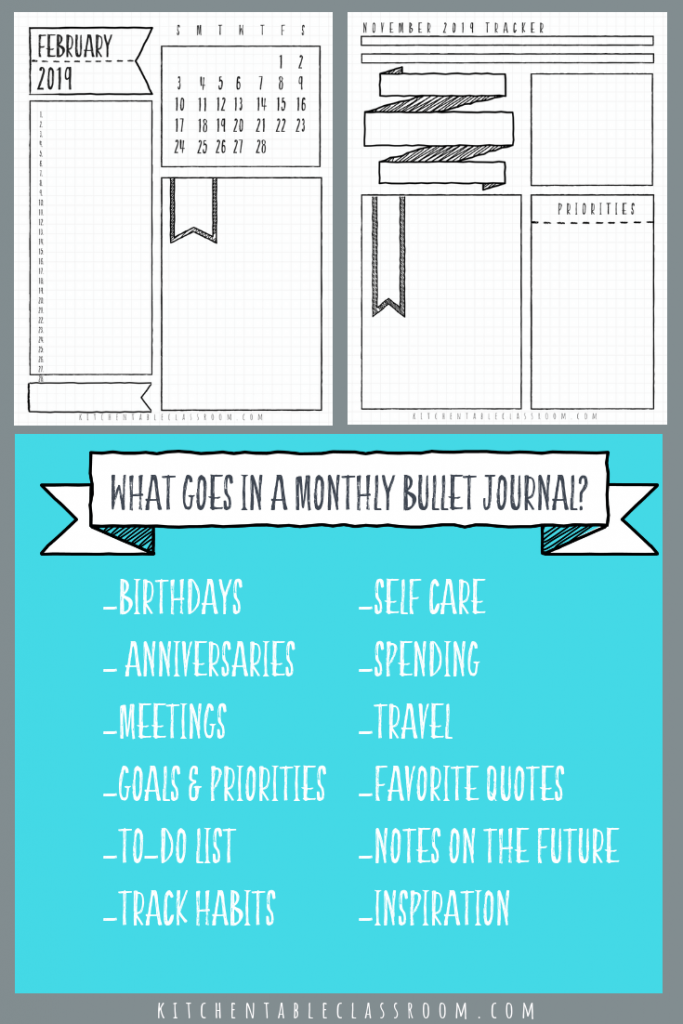 Transformative image for bullet journal monthly spread printable
