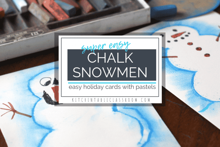 Try this chalk pastel technique to make a snowman drawing the easy way! This idea is a quick holiday project perfect for making Christmas cards and more!