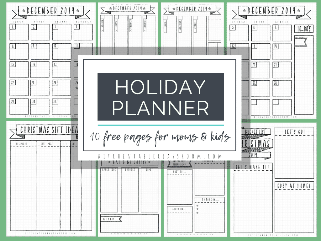 10 bullet journal inspired holiday planner pages are the perfect way to plan for the season! Gift tracker, meal planner, wish list, bucket list & more!
